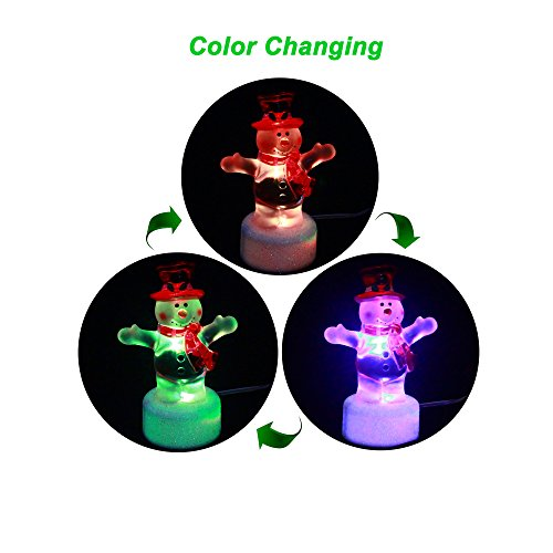 ANGROC USB Powered LED 3.5 INCH Mini Color Changing Christmas Snowman Light(Standing Pose) -