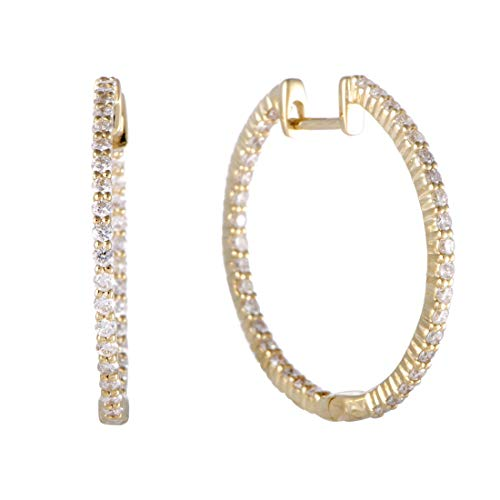 - ~1ct 14K Yellow Gold Full Diamond Pave Inside Out Hoop Earrings