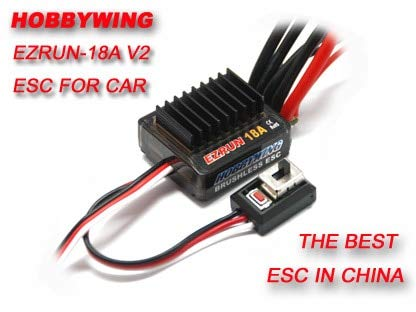 UN 18A V2 2-3S Lipo Speed Controller Brushless ESC BEC Output 6V/1.5A for 1/16 1/18 RC Car ()