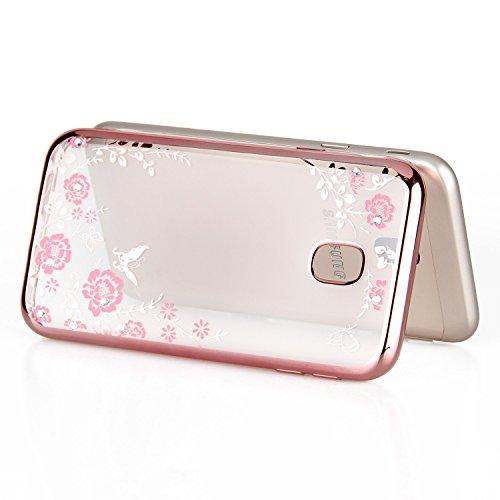 Funda Galaxy J5 2017 versión europea,SainCat Silicona Suave y Brillante Caja Protectora con Chispea Diamante Bling Glitter de Transparente ultra fino Funda de silicona de goma de TPU para Caso el Sams Oro rosa