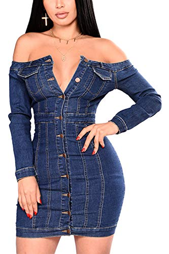 (Sopliagon Women Denim Bodycon Dress Casual Off The Shoulder Mini Dresses Blue M)