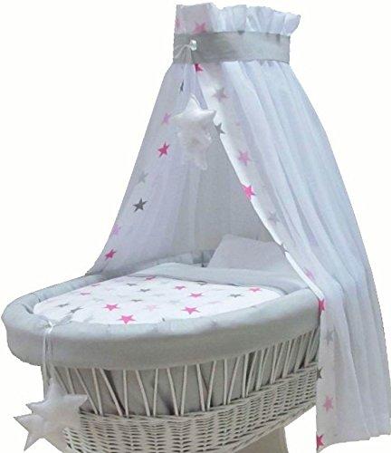 rose couette sans berceau 7 parties dais tour de lit Babymajawelt/® Couverture additif pour bassinetteBIG STARS literie drap housse