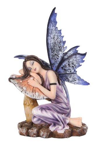 (5.25 Inch Fairyland Purple Fairy Sleeping on Mushroom Statue Figurine)