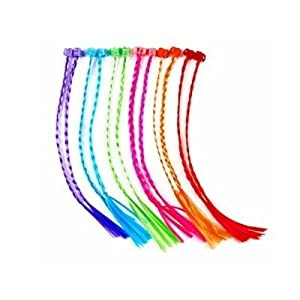 Lumiparty High Quality 11 Inches One Dozen Neon Nylon Braided Hair Extensions Attachments, Assorted Colors Nylon Clip Snap On Children Kit for Birthday Party Favors