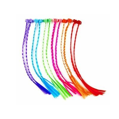 Lumiparty High Quality 11 Inches One Dozen Neon Nylon Braided Hair Extensions Attachments, Assorted Colors Nylon Clip Snap On Children Kit for Birthday Party Favors - Neon Colors Costumes