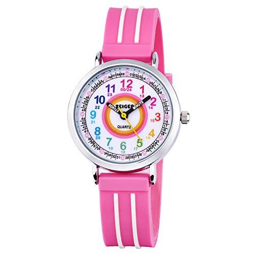 Zeiger Time Teacher First Watch Young Girls Children Kids Watches, Pink Resin Band