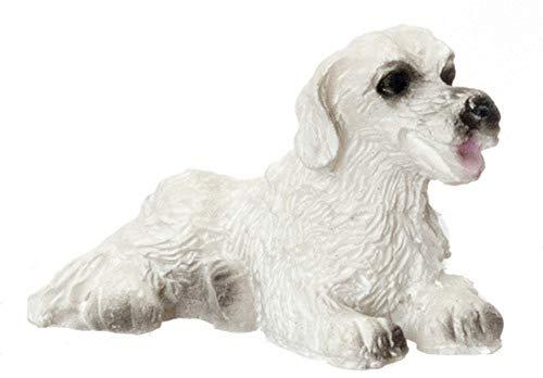 Melody Jane Dollhouse Small White Dog Lying Down Miniature Pet 1:12 Accessory