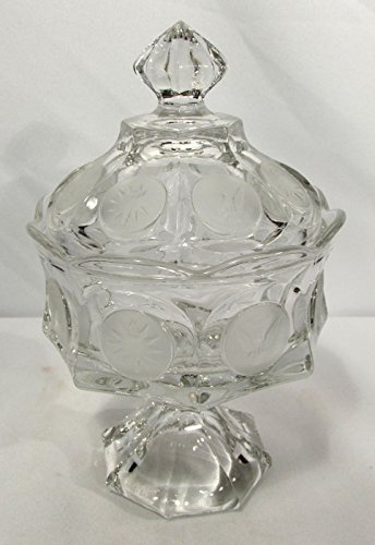 (Vintage Wedding Bowl Crystal Compote w/ Lid Fostoria Coin Pattern)