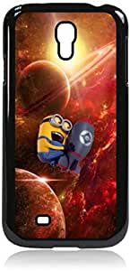 Minion going to Space- Hard Black Plastic Snap - On Case with Soft Black Rubber Lining-Galaxy s4 i9500 - Great Quality!