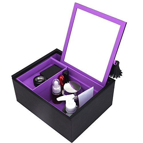 4209f71a6a5de JL LELADY JEWELRY Makeup Box Cosmetic Case Makeup Storage Jewelry Box  Organizer with Large Mirror for Women Girls (Black and Purple)