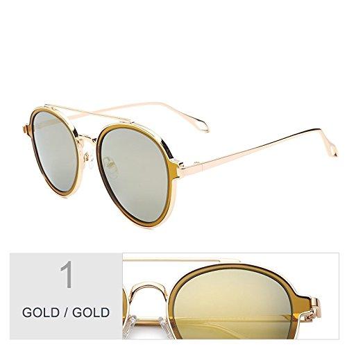 Perfecta Mujer Sol Gold Gold TIANLIANG04 Para Caminan Que Gafas Para Gris De Gafas Mujeres Puentes Dobles Sol Eyewear Polarizadas Uv400 Lentes De Redonda De Negro YwdOqw