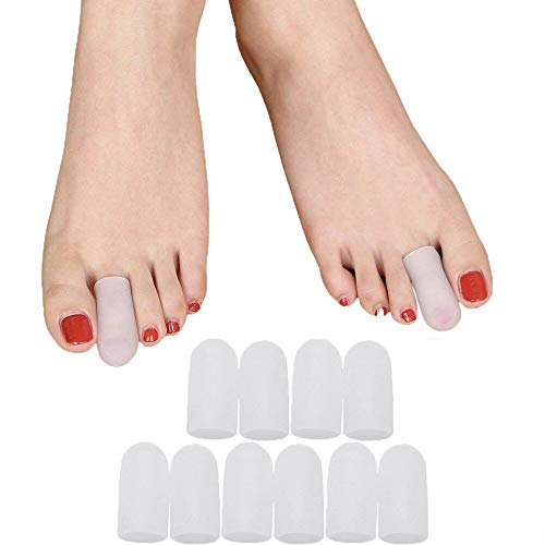Povihome Toe Caps, Toe Sleeves, Toe Protectors 10 Pack - for Blisters, Corns, Injured Toenails and Hammer Toe Protect