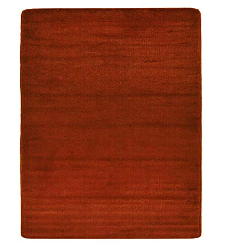 British Collection Solid Color Area Rug Rugs Slip Skid Resistant Rubber Backing Machine Washable More Color Options Available (Burnt Orange, 3'3