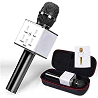 Axxe High Quality Q7 Portable Multi-function Wireless Microphone Karaoke KTV Player Handheld Condenser with Bluetooth Speaker.Compatible with iPhone/iPad/iPod/and all android smartphones.
