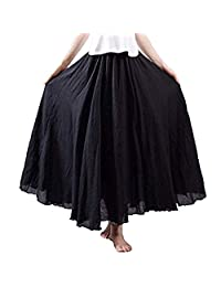 Lesimsam Women Elastic Waist Flowing Bohemian Cotton Linen Retro Long Maxi Skirt Vintage Dress (XL, Black)