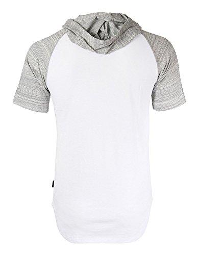 ZIMEGO Short Sleeve Raglan Henley Hoodie Round Bottom Semi Longline T-Shirt (XX-Large, White Fulfilled by by ZIMEGO (Image #1)