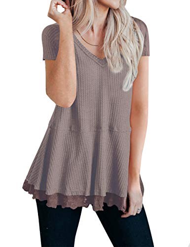 MEROKEETY Women's Short Sleeve V Neck Waffle Knit Lace Trim Flowy Tunic Tops ()