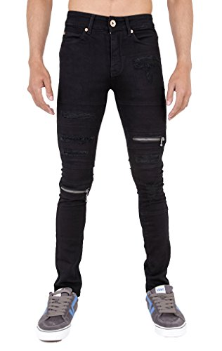 Arrested Development Mens Rip and Zip Super Skinny Stretch Denim Punk Retro Jeans Black 28r (Super Skinny Rip Jeans)