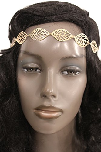 TFJ Women Head Piece Fashion Hair Jewelry Headband Gold Metal Leaves Ladies Black Elastic Band (Halloween Castume)