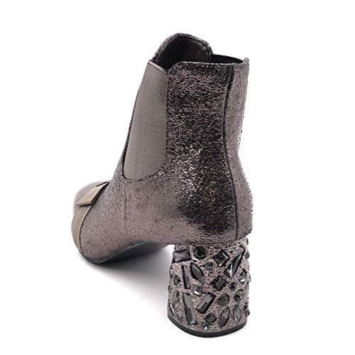on Efecto Botines Mujer Tacón Bimaterial Boots Angkorly Forrada Ligeramente Zapatillas Alto Cm Ancho 5 Agrietado 6 Piel Moda Chelsea Nodo Bronce Strass De Slip wqEq08vn