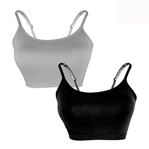 (DR. MAのGOTEK Cami Bra with Slim Straps for Women, Mini Camisole Built in Bra, Women's Seamless Short Tank top with Bra Cups (Black&Grey,)