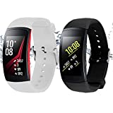 "Rukoy Bands for Samsung Gear Fit 2/ Gear Fit 2 Pro Smartwatch [2-Pack: White+Black](5.9""-7.5"")"
