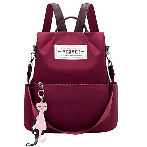 Women Backpack Purse shoulder Bag Nylon Waterproof Anti-theft Bags (3-Red)