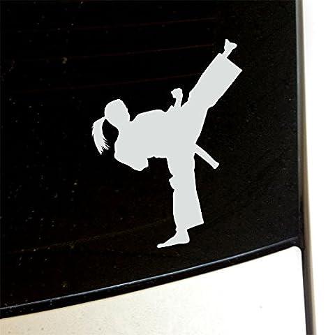 Girls Karate Kick Decal, for Laptop, Car - WHITE 4