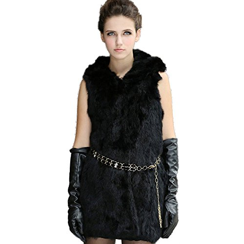 Fur Story Women's Long Real Rabbit Fur Vest with Fur Trim Hood Thick Warm Vest Single Breasted Sleeveless US4 (Black) ()