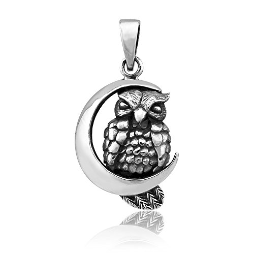 - WithLoveSilver Solid Sterling Silver 925 Moon Crescent Owl Symbol of Happiness Pendant