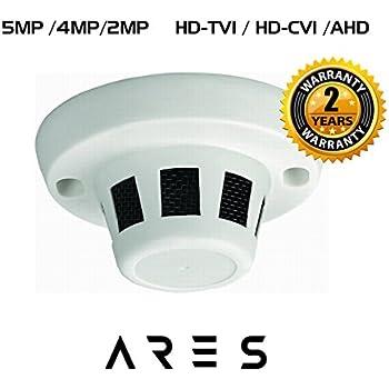 Ares Vision 5MP /4MP /2MP TVI/CVI/AHD/CVBS Hidden Covert Smoke Detector CCTVCamera (BNC)