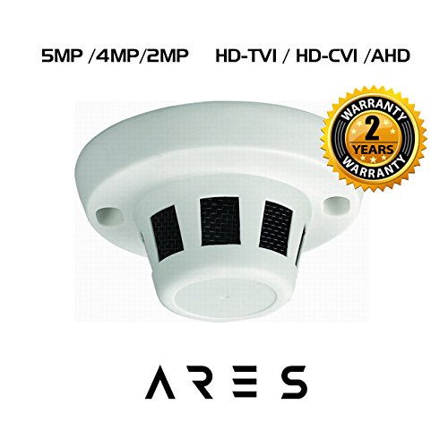 Ares Vision 5MP TVI CVI AHD CVBS Hidden Covert Smoke Detector CCTV Camera BNC 5 MP