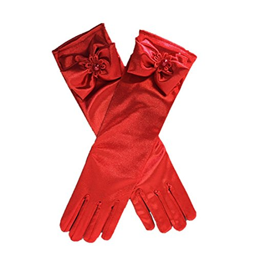 Amkaka Stretch Satin Long Finger Dress Gloves for Girls Children Party