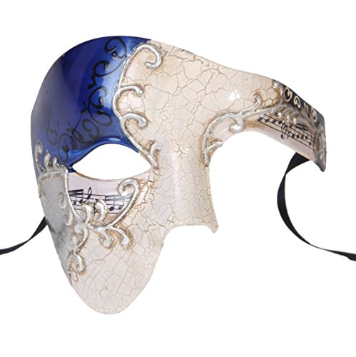 Luxury Mask Men's Phantom Of The Opera Half Face Masquerade Mask Vintage Design, Silver/Blue, One Size -