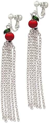 Single Cherry Chain Tassel Clip On Earrings