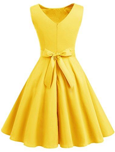 Amarillo Mujer Plisado Wedtrend Vestido Para 5IZItqw