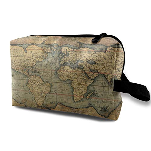 16Th Century Map Of The World History Travel Toiletries Bag Sturdy Organizer Cosmetic Handbag For Women Men Portable