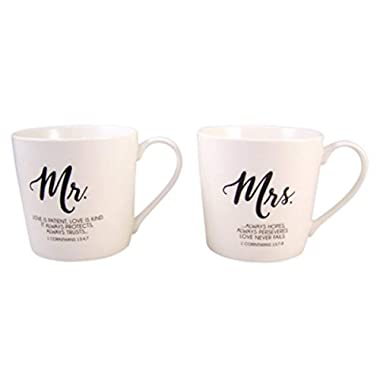 Mr. and Mrs. Coffee Mug Set with Love is Patient Bible Scripture, Set of 2, 12 Ounce