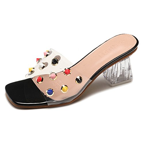 CYBLING Womens Clear Lucite Chunky Heeled Slide Sandals Colorful Rivets Open Toe Slip On Slippers by CYBLING