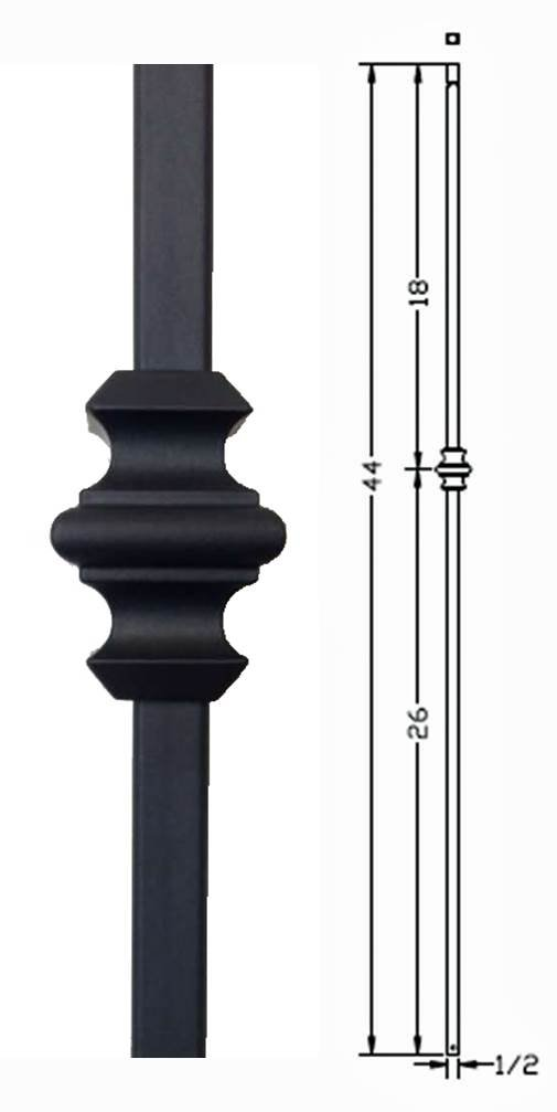 Box of 10 Satin Black Hollow Metal Stair Baluster Spindle SINGLE KNUCKLE 1//2 X 44