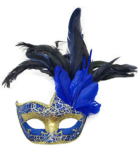 Biruil Feather Masquerade Mask Eyemask Halloween Mardi Gras Cosplay Party Face Mask (Crack Blue)