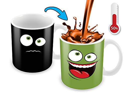 - Heat Sensitive Color Changing Coffee Mug | Green Happy Funny Face | Funny Christmas Gift Idea | Funny Coffee Cup - Add Hot Liquid And Reveal The Happy Smiley Face