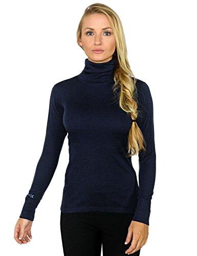 Woolx Women's Merino Wool Turtleneck - Ultimate Warmth & Style - Alaskan Blue SML (Virgin Wool Sweater)