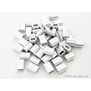"""50 Lot Ferrule Stops 3//32/"""" Aluminum Cable Snare Wire Swage Trap Line End"""