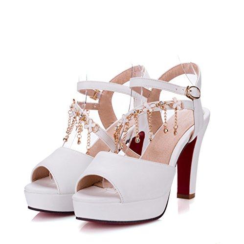 Moda Mujer verano sandalias confortables tacones altos white 10.5cm heels