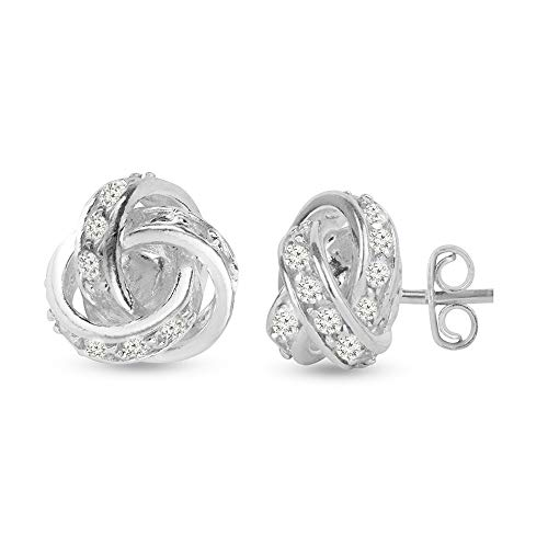 LeCalla Sterling Silver Jewelry Italian Design Cubic Zirconia Stone Studded Love Knot Stud Earrings for Women