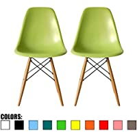 2xhome - Set of Two (2) Green - Eames Style Side Chair Natural Wood Legs Eiffel Dining Room Chair - Lounge Chair No Arm Arms Armless Less Chairs Seats Wooden Wood Leg