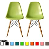 2xhome Set of 2 Green Mid Century Modern Contemporary Vintage Molded Shell Designer Side Plastic Eiffel Chairs Wood Legs for Dining Room Living Office Conference DSW Desk Kitchen Comfortable For Sale