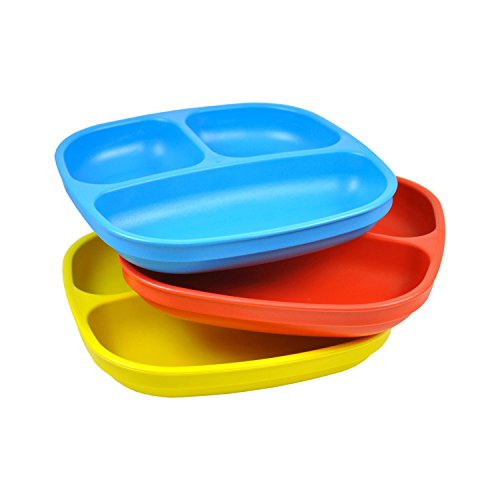 3-Pack Recycled Milk Jugs, BPA-free Divided Plates,Blue/Red/Yellow