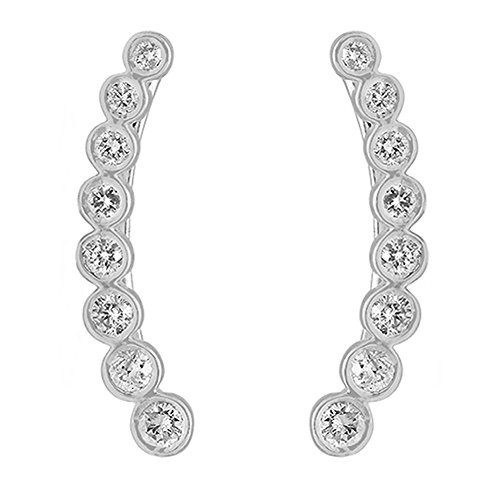 0.60 Carat (ctw) 14K White Gold Round Cut White Diamond Ladies Journey Curved Climber Earrings by DazzlingRock Collection